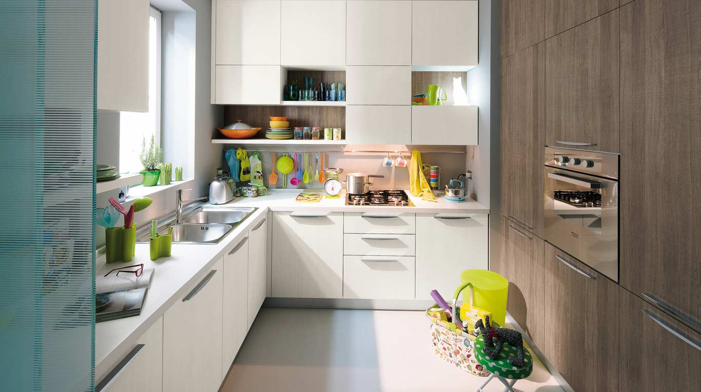 Veneta Cucine - Kitchens - Quick Design - START-TIME - Bianco Papiro 548, Grigio Papiro 549