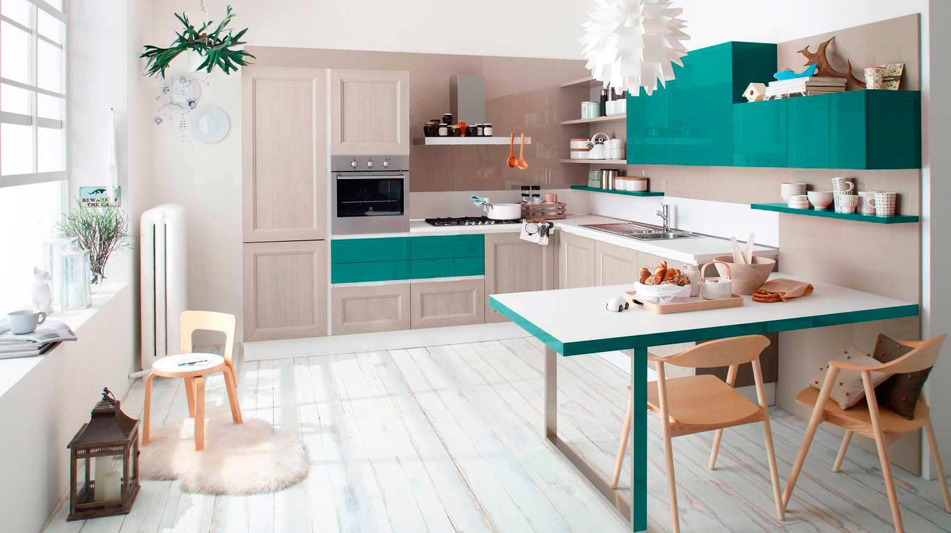 Veneta Cucine - Kitchens - Quick Design - Tablet GO - Link Rovere Grigio 217, Laccato Verde Mare 924, Laccato Marron Mocaccino 679