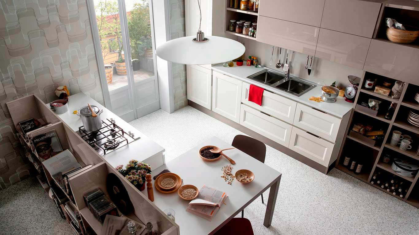 Veneta Cucine - Kitchens - Quick Design - Tablet Go-Link Laccato Bianco 297, Laccato Marron Mocaccino 679