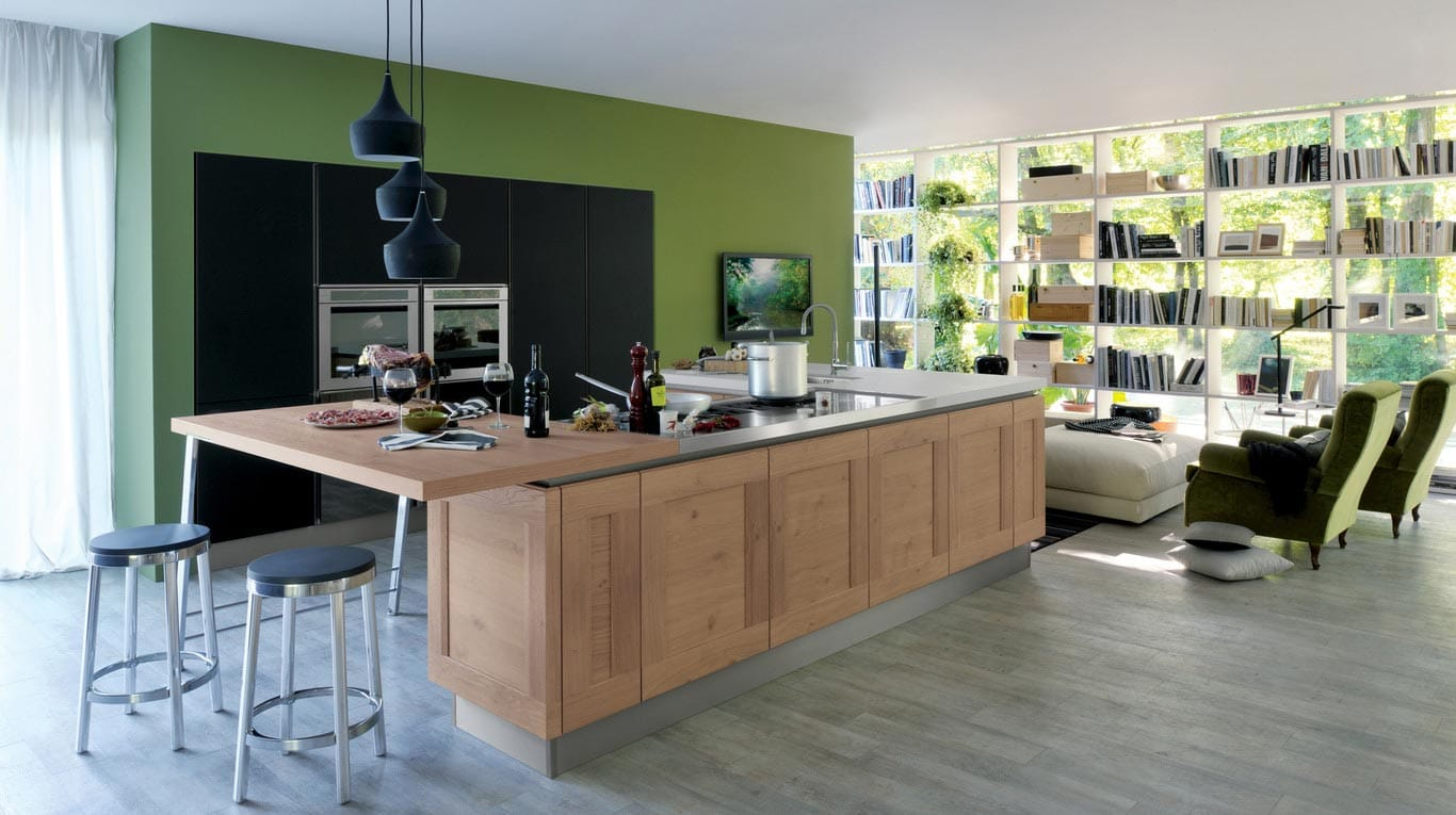 Veneta Cucine - Kitchens - Essence - Rovere Vecchio 785, Nero Opaco 529 Ri-flex Glass