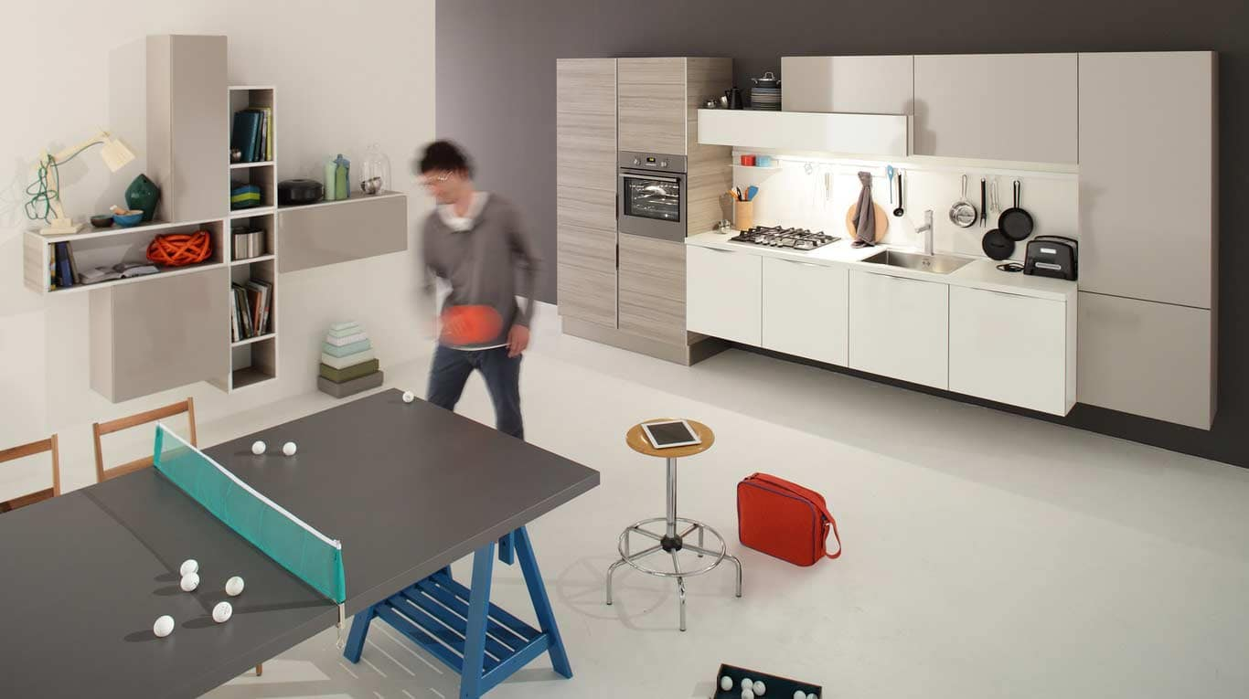Veneta Cucine - Kitchens - Quick Design - START-TIME - Bianco Burro 142, Marron Mocaccino 679, Strike Grigio 417 - UP Handle