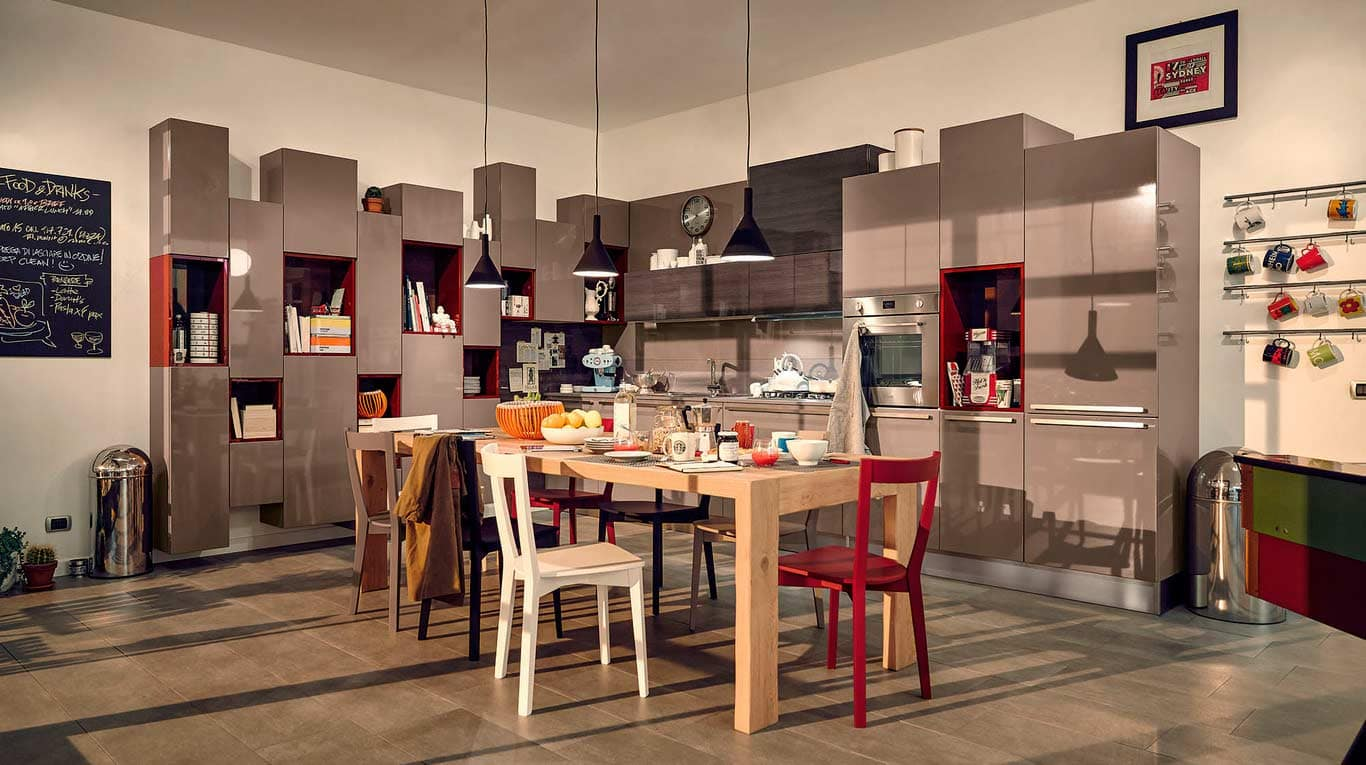 Veneta Cucine - Kitchens - Quick Design - CARRERA - Rosso Melograno Plus 818, Grigio Striato 144