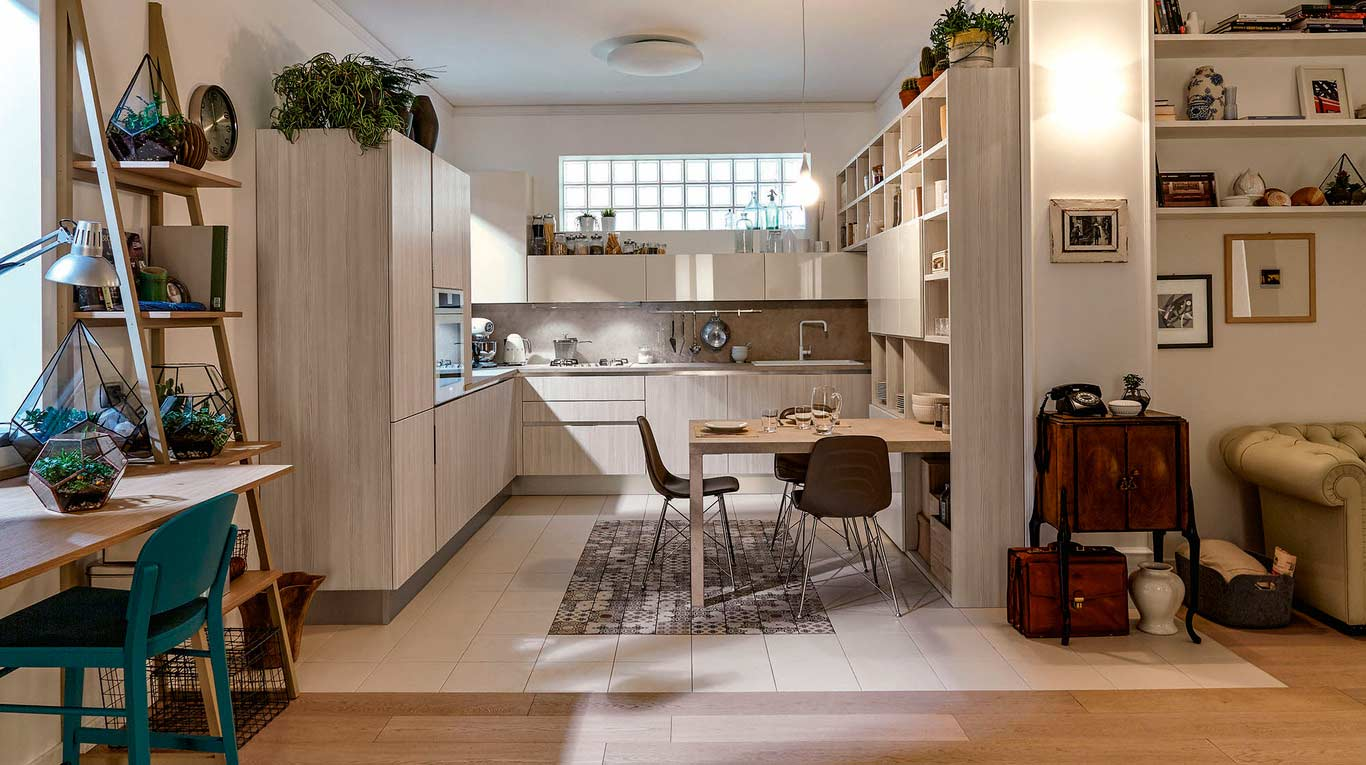 Veneta Cucine - Kitchens - Quick Design - Carrera GO - Lattemiele Lucido 812