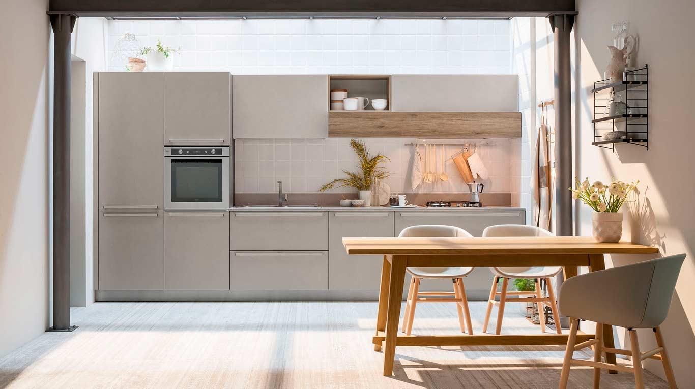 Veneta Cucine - Kitchens - Quick Design - START-TIME - Graffiato Scuro 584, Play Rovere Scuro 697