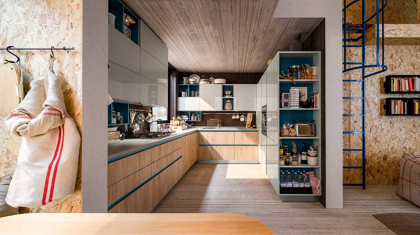 Veneta Cucine - Kitchens - Quick Design - START-TIME GO - Play Rovere Medio 696, Grigio Caldo 682, Ottanio 705