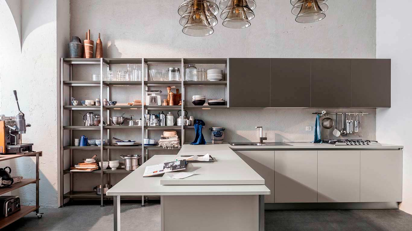 Veneta Cucine - Kitchens - Quick Design - START-TIME J - Play Rovere Medio 696, Smart Antracite 349, Smart Grigio 347