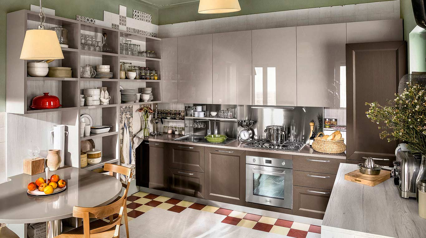 Veneta Cucine - Kitchens - Quick Design - Tablet - Link Rovere Marrone 312, Play Rovere Chiaro 695, Marron Mocaccino 679